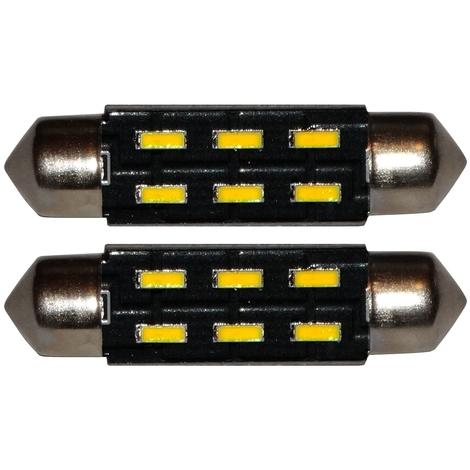 2x ampoule veilleuses C5W 12V 6LED SMD blanc effet xénon 39mm éclairage intérieur plaque d'immatriculation seuils de porte plafonnier pieds lecteur de carte coffre compartiment moteur