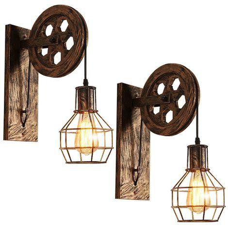 """main image of """"2x Applique Murale Industrielle Poulie Vintage Lampe de Mur Luminaire Intérieur pour Chambre Salon Restaurant,Laiton"""""""