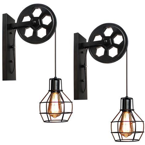 2x Applique Murale Industrielle Poulie Vintage Lampe de Mur Luminaire Intérieur pour Chambre Salon Restaurant,Noir