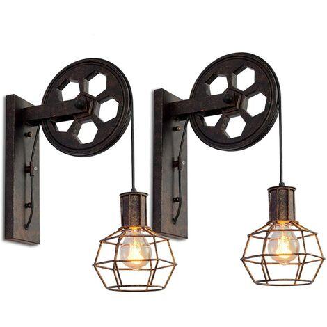 2x Applique Murale Industrielle Poulie Vintage Lampe de Mur Luminaire Intérieur pour Chambre Salon Restaurant,Rouille