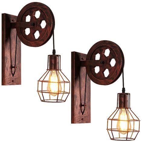2x Applique Murale Industrielle Poulie Vintage Lampe de Mur Luminaire Intérieur pour Chambre Salon Restaurant,Rouille Rouge