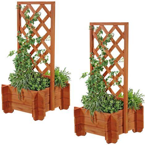2x Arco de rosas + jardinera rejilla enrejado gris arco de jardín columna de rosas soporte para plantas de madera macetero maceta arriate