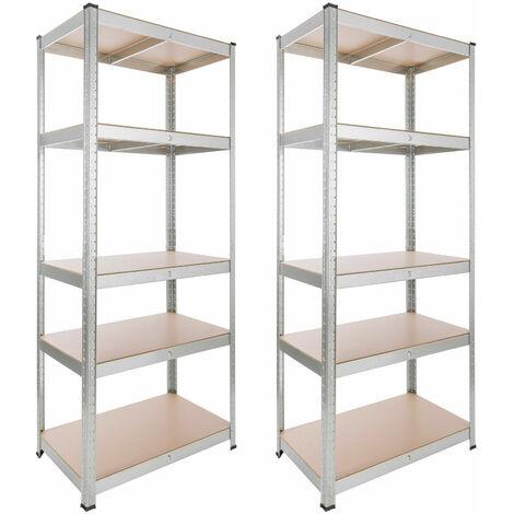 2x Arebos Heavy duty shelf 875kg Basement shelf Storage shelf 180x75x45cm