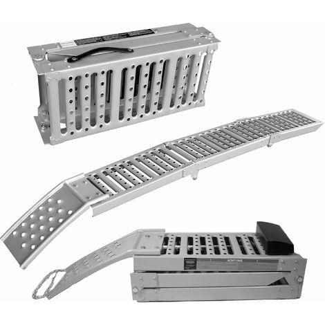 2x Arebos rampa de carga Rampa de acceso abatible 1600 kg - plata