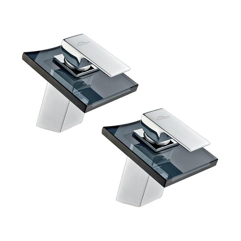 2x auralum mitigeur lavabo robinetterie cascade pour lavabo de salle de bain en laiton et - Robinetterie laiton salle de bain ...