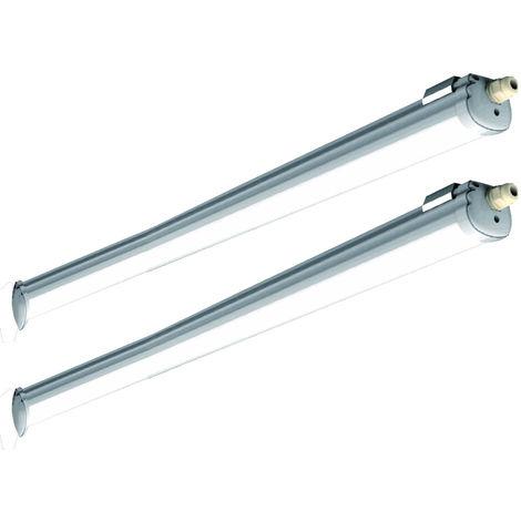 2x baignoires LED lumineuses halls industriels éclairage atelier entrepôt lampe de pièce humide
