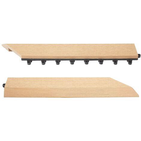 2x Barre de finition pour carreaux en WPC Rhone, aspect bois~anthracite,coupée sur le côté droit sans crochets