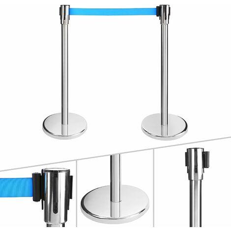 2x Barrière à ceinture rétractable bleu
