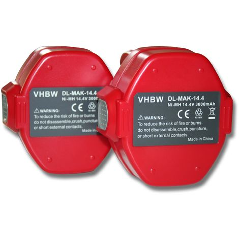 2x Batterie Ni-MH 3000mAh (14.4V) vhbw pour outils UB140DWB Makita 1433, 1434, 1435, 1435F comme Makita 1420, 1422, 1422 192600-1, 192600-1.
