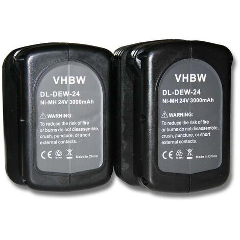 2x Batterie Ni-MH 3000mAh (24V) vhbw pour outils DC224KB, DW004, DW004K, DW004K-2, DW004K2C comme Dewalt DE0240, DE0240-XJ, DE0241, DE0243.