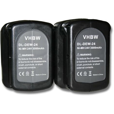 2x Batterie Ni-MH 3000mAh (24V) vhbw pour outils Dewalt DC222KA, DC222KB, DC223KA, DC223KB, DC224KA comme Dewalt DE0240, DE0240-XJ, DE0241, DE0243.