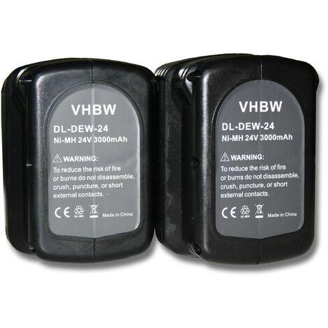2x Batterie Ni-MH 3000mAh (24V) vhbw pour outils DW017K2, DW017K2H, DW017N comme Dewalt DE0240, DE0240-XJ, DE0241, DE0243.