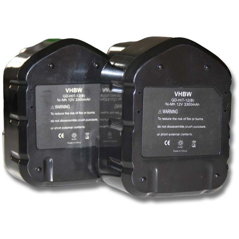 2x Batterie Ni-MH 3300mAh (12V) vhbw pour outils Hitachi C 5D, C5D, CD 4D, CD4D, CL 13D, CL13D comme Hitachi 320386, 320387, 320388, 320606, 320608.