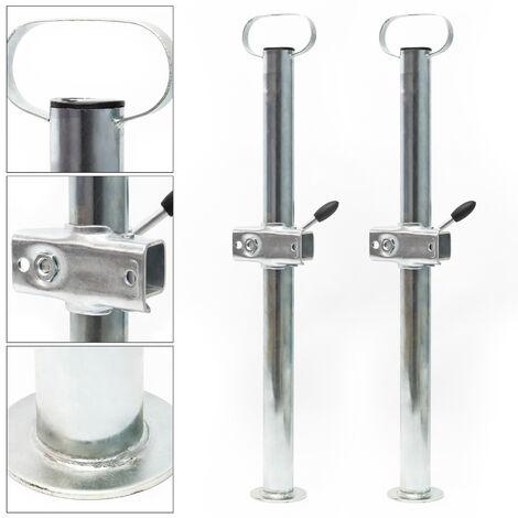 2x Béquille support avec Collier calage Remorque 700mm ⌀48mm Pied stabilisation Fer Galvanisé