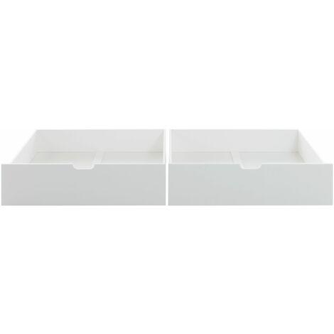 2x Bettkasten Alain mit Bodenplatten Kiefer massiv weiß auf 4 Rollen B 97 - T 75 cm - H 20 cm