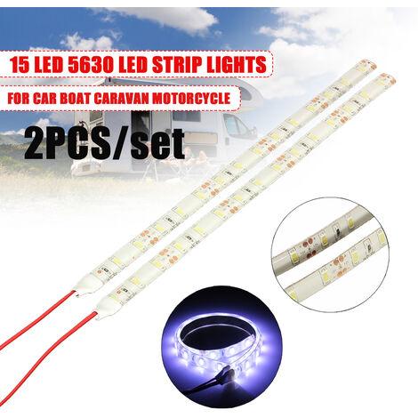 2x blanco 15 LED 5630 SMD 12V lámpara de luces de tira flexible para Hasaki impermeable coche barco