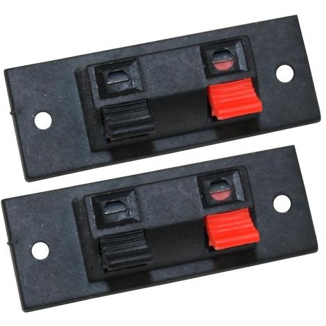 2x Bornier à pinces poussoir chassis pour haut-parleur enceintes 2 pôles 20/54mm