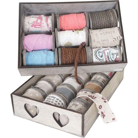 2x box de décoration, bandes de décoration, boîte à ficelles, 27 galets