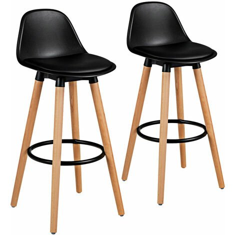 2x Breakfast Bar Stool High Chair PU Leather Kitchen Chrome w/Footrest Home Shop
