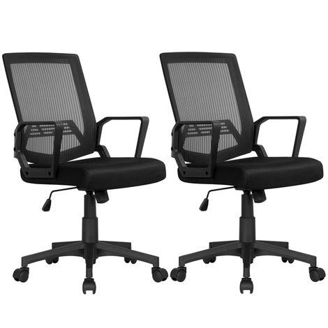 2x Bürostühle Computerstuhl Drehstuhl Schreibtischstuhl Chefsessel höhenverstellbar mit Armlehne und Rollen