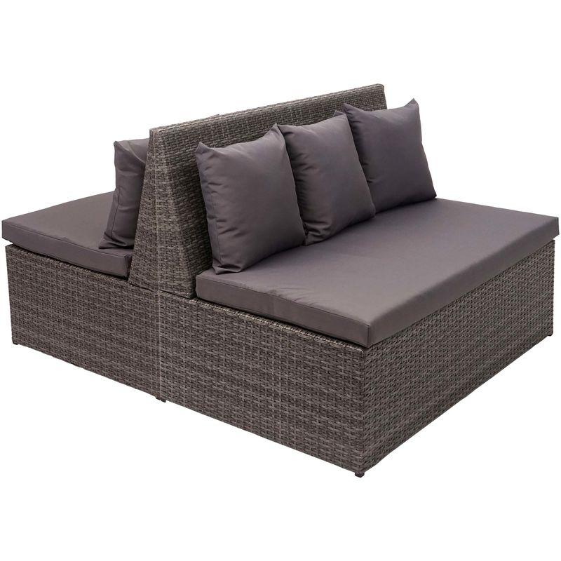 2x canapé en polyrotin, 2 places HHG-868, banc, fauteuil, gastronomie, 120 cm ~ gris, coussin gris foncé