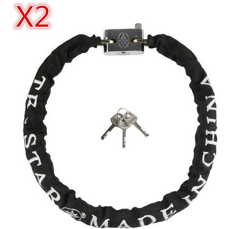 2x Candado de cadena Antirrobo para bicicletas y motos, Protección antirrobo para bicicletas 90cm seguro negro Seguro