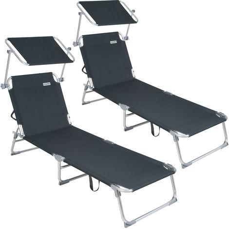 Surprising 2X Casaria Sun Lounger Folding Sunbed Adjustable Backrest Evergreenethics Interior Chair Design Evergreenethicsorg