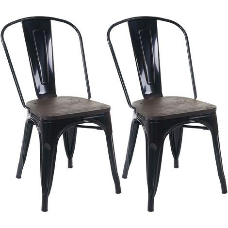 2x chaise de bistro HHG-404, avec siège en bois, chaise empilable, métal, design industriel