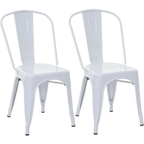 2x chaise de bistro HHG-808, chaise empilable, métal, design industriel