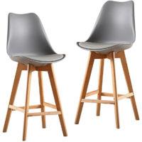 2x Chaise de loisirs simple gris JEOBEST