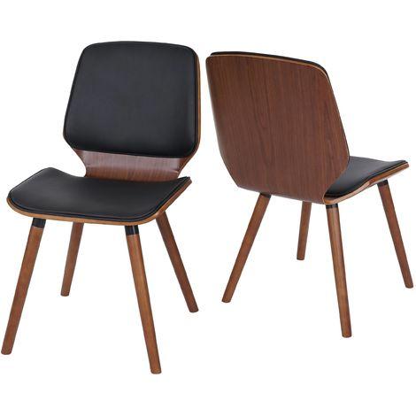2x Chaise de salle à manger HHG-094, bois courbé, rétro, aspect noyer