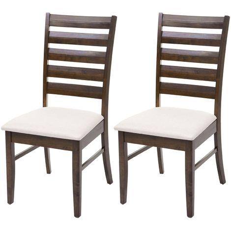2x chaise de salle à manger HHG-527, chaise pour cuisine, tissu, en bois massif