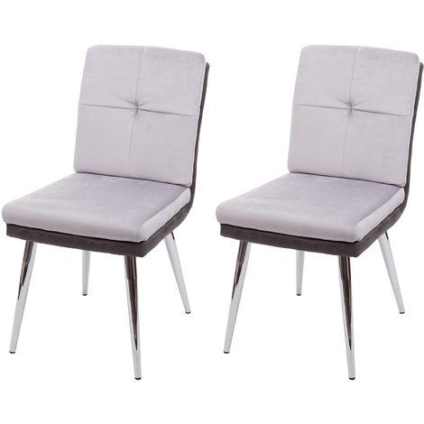 2x Chaise de salle à manger HHG-556, chaise pour la cuisine, chaise rembourrée, similicuir velours ~ gris