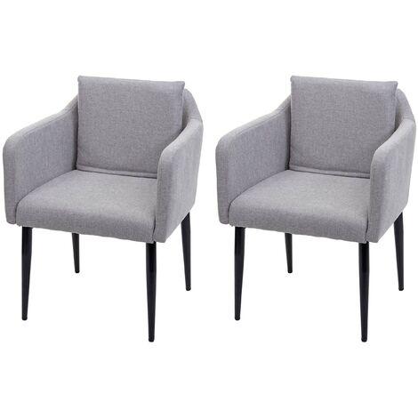 2x chaise de salle à manger HHG-734, chaise de cuisine chaise longue ~ similicuir crème-beige