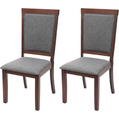 2x chaise de salle à manger HHG-809, chaise pour la cuisine, tissu, en bois massif ~ châssis foncé, gris