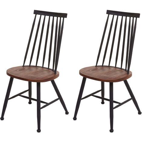 2x chaise de salle à manger HHG-873, chaise pour la cuisine, style rétro, métal, gastronomie