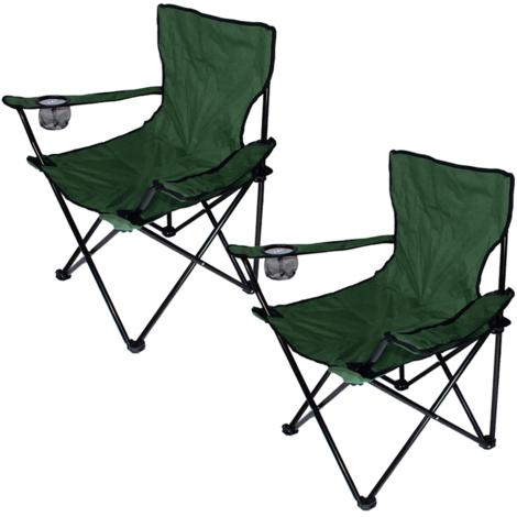 2x Chaise Jardin Pliante Camping Multifonctionnel Armée verte