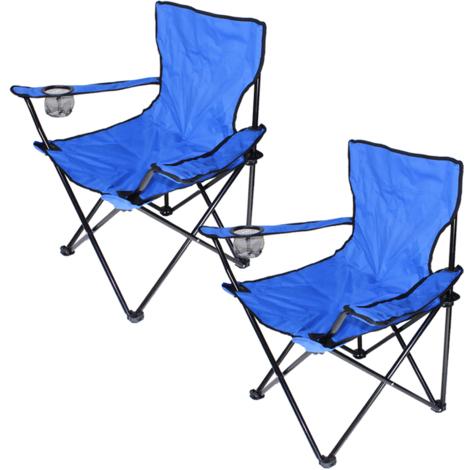 2x Chaise Jardin Pliante Camping Multifonctionnel bleu