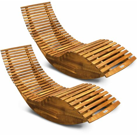2x Chaise longue à bascule en bois d'acacia certifié FSC transat ergonomique