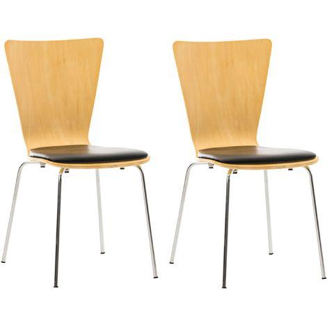 2x chaises de cuisine en bois avec assise rembourrée en simili-cuir noir