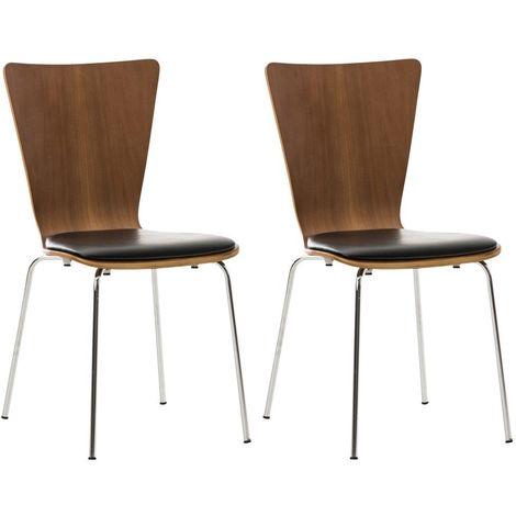 2x chaises de cuisine en bois couleur noyer avec assise rembourrée en simili-cuir noir