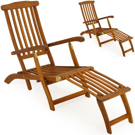 2x chaises longues en bois queen mary transat bain de soleil jardin si ge relax 1023378130 - Chaise de jardin en bois ...