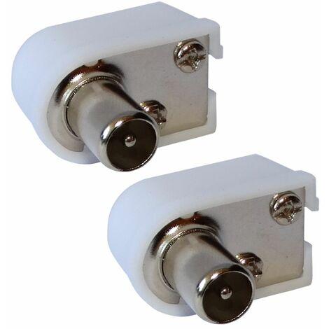 """main image of """"2X Connecteur prise fiche antenne TV coudée 9,5mm IEC 169-2 télé coaxial pour rallonge"""""""