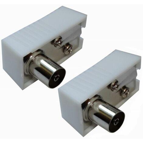 """main image of """"2X Connecteur prise fiche antenne TV femelle coudée 9,5mm IEC 169-2 télé coaxial pour rallonge"""""""