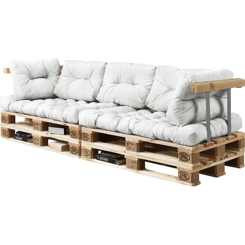 [en.casa] - 2x Coussin de Siège & 5x Coussin de dossier pour canapé euro-palette blanc coussin