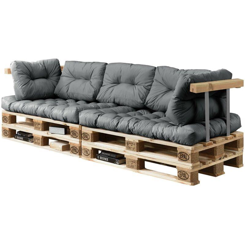 Helloshop26 - 2x coussins de Siège et 5x coussins de dossier pour canapé palette gris - Gris