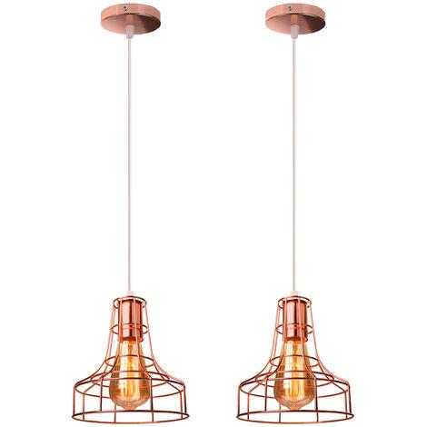 2x Creative Vintage Chandelier Industrial Pendant Light Retro Metal Hanging Lamp for Living Room Kitchen Home Decoration Rose Gold