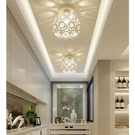 2X Crystal Ceiling Light Metal Iron Chandelier (White) 26CM Retro Ceiling Lamp E27 Modern Chandelier for Home Office Bar Bedroom Kitchen Living Room Kitchen