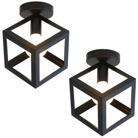 2x Cubo Creativo Candelabro Vintage Lámpara de Techo Antiguo Colgante de Luz de Metal de Hierro para Negro Loft Bar Office