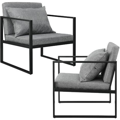 en.casa 2x Stühle Lehnstuhl Esszimmer-Stuhl Polsterstuhl Textil Sessel Grau